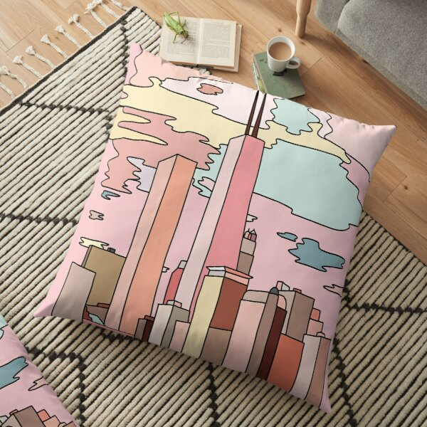 Chicago sunset by Sasa Elebea Floor Pillow
