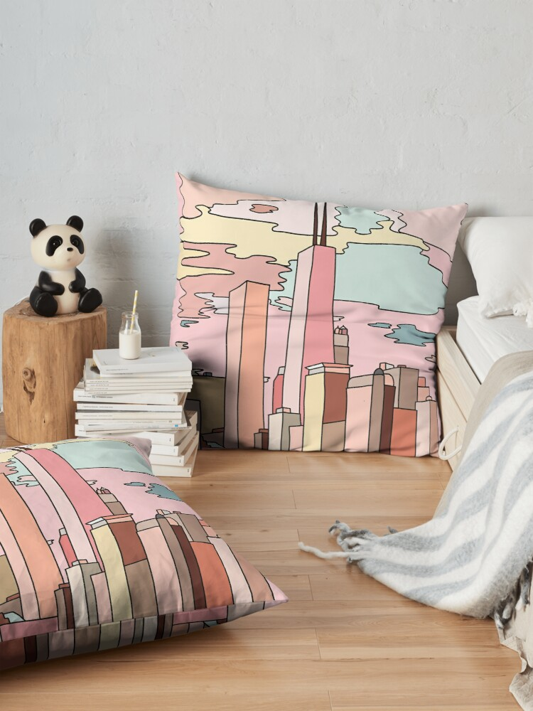 Alternate view of Chicago sunset by Sasa Elebea Floor Pillow