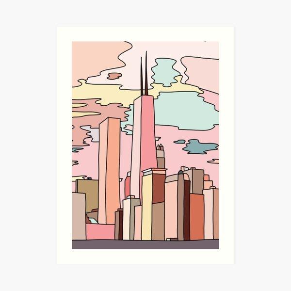 Chicago sunset by Sasa Elebea Art Print