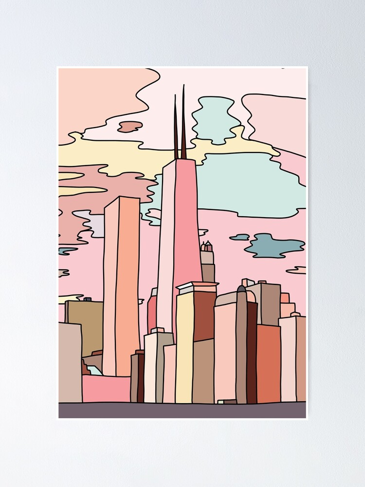 Alternate view of Chicago sunset by Sasa Elebea Poster