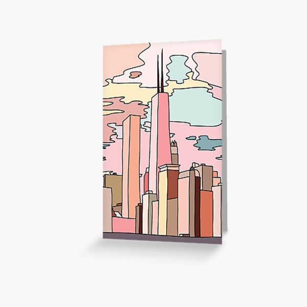 Chicago sunset by Sasa Elebea Greeting Card