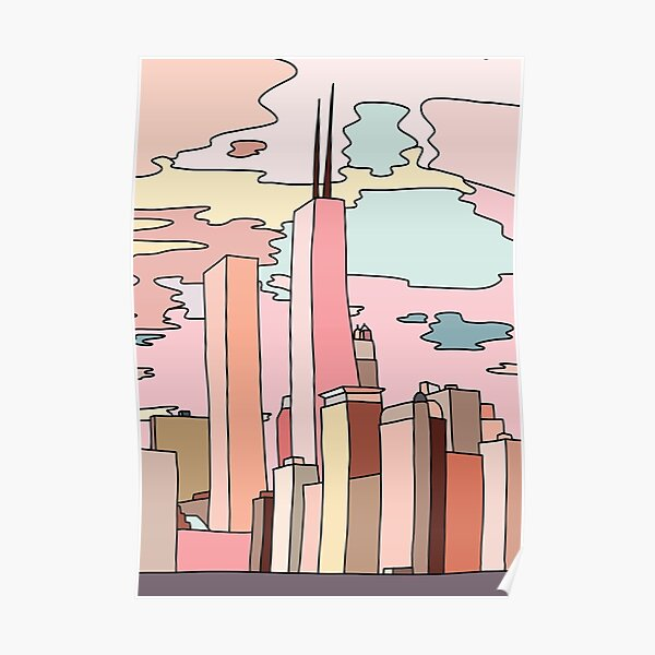 Chicago sunset by Sasa Elebea Poster