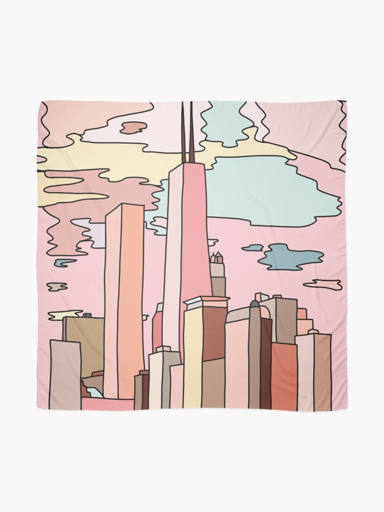 Alternate view of Chicago sunset by Sasa Elebea Scarf