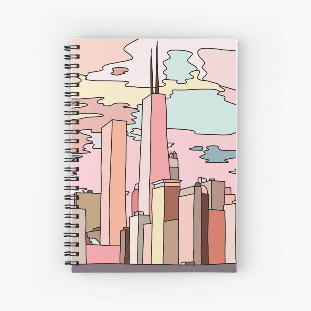 Chicago sunset by Sasa Elebea Spiral Notebook