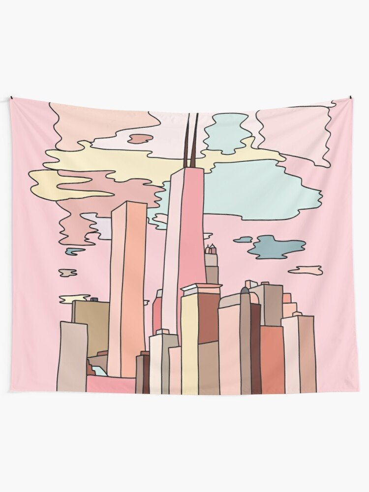 Alternate view of Chicago sunset by Sasa Elebea Tapestry
