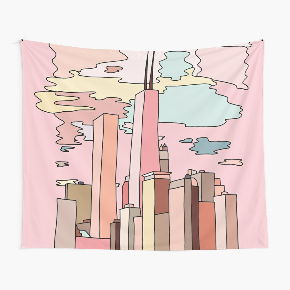 Chicago sunset by Sasa Elebea Wall Tapestry