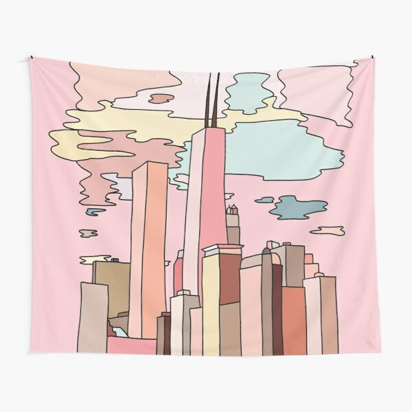 Chicago sunset by Sasa Elebea Tapestry