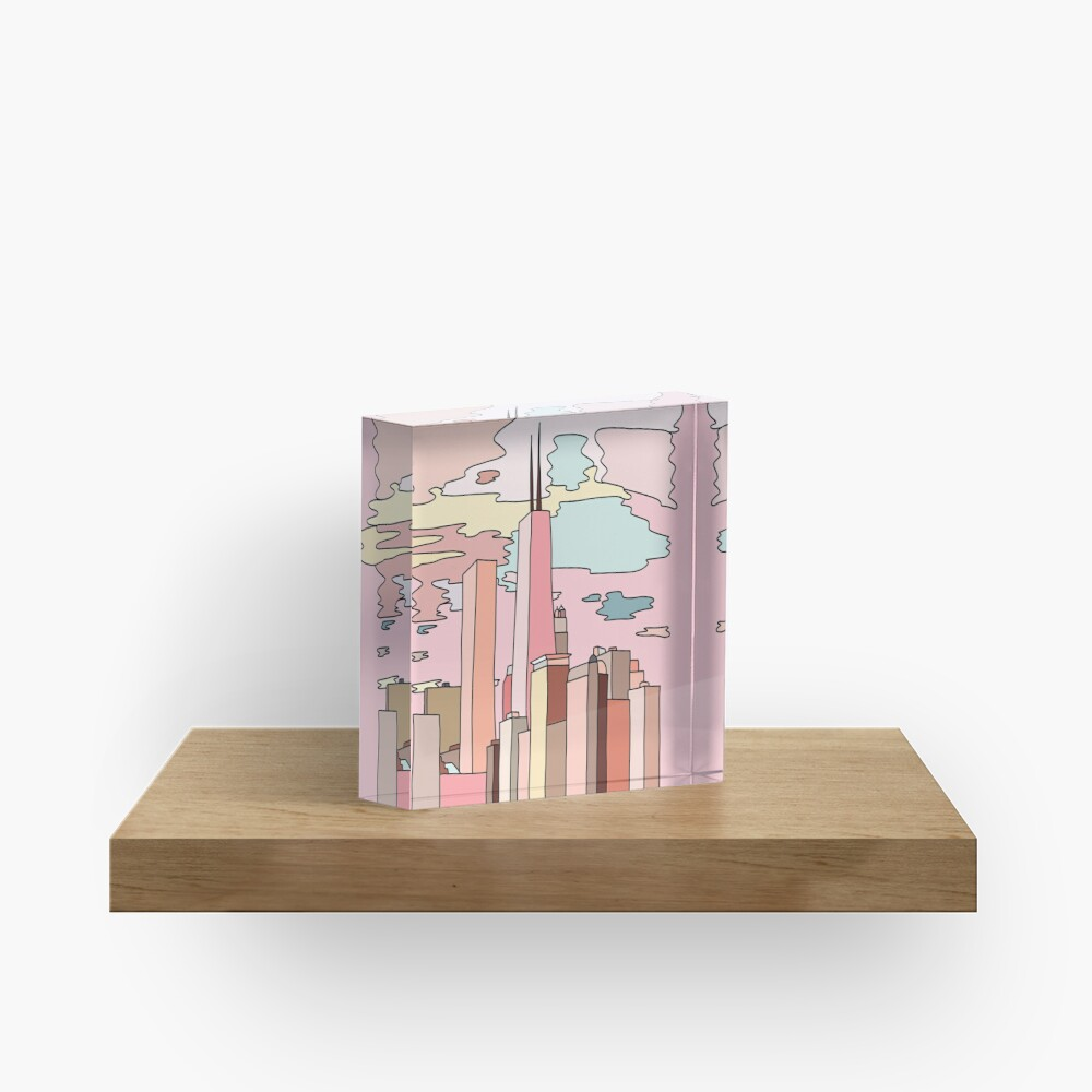 Chicago sunset by Sasa Elebea Acrylic Block