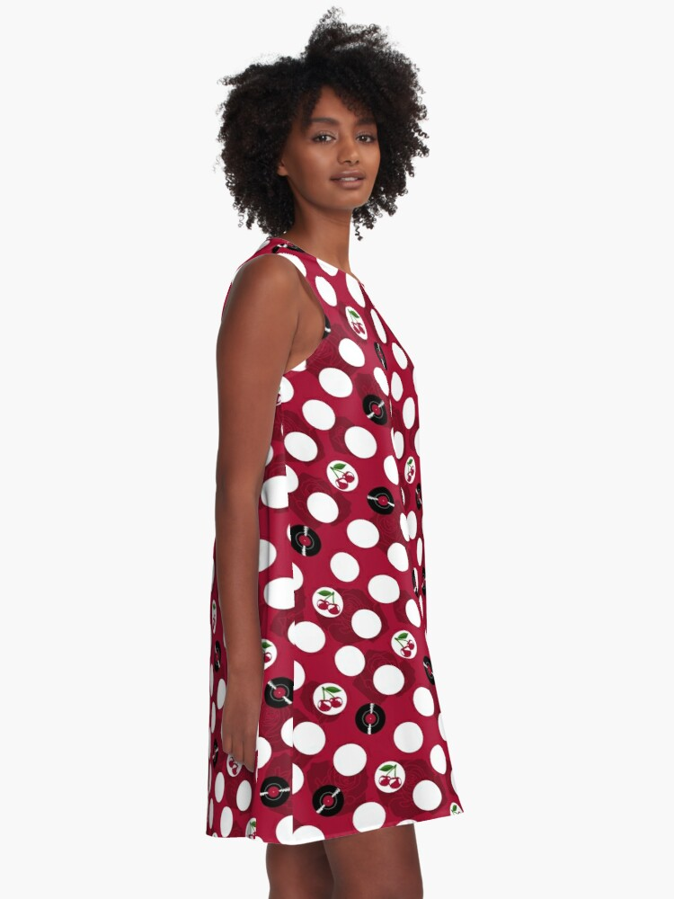 Alternate view of Rockabilly records, cherries and roses A-Line Dress