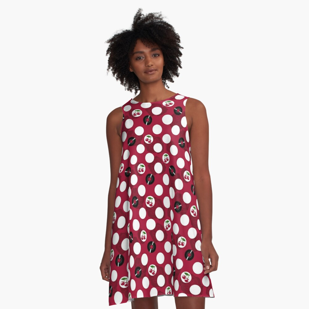 Rockabilly records, cherries and roses A-Line Dress