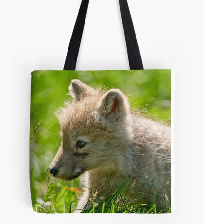 Just smelling the flowers _ Arctic Wolf Pup Tote Bag