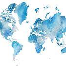 """Graue und blaue Aquarell-Weltkarte mit umrissenen Ländern, """"Raleigh"""" von blursbyai"""