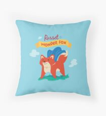 Fox with Cape - Text Throw Pillow