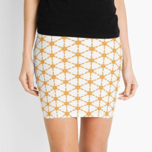 StarFlower Pattern glow orange Mini Skirt