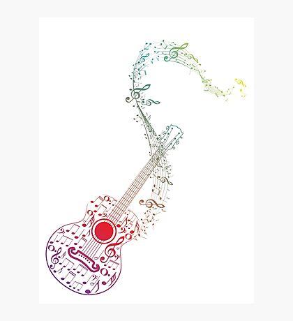 Gitarre und Musiknoten 10 Fotodruck