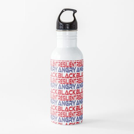 #OurPatriotism: Angry Black Resilient (Red, White, Blue) by Onjena Yo Water Bottle