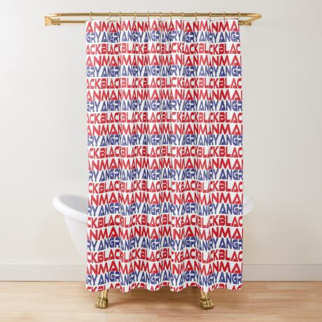 #OurPatriotism: Angry Black Man (Red, White, Blue) by Onjena Yo Shower Curtain