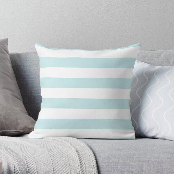 Duck Egg Pale Aqua Blue and White Wide Horizontal Cabana Tent Stripe Throw Pillow