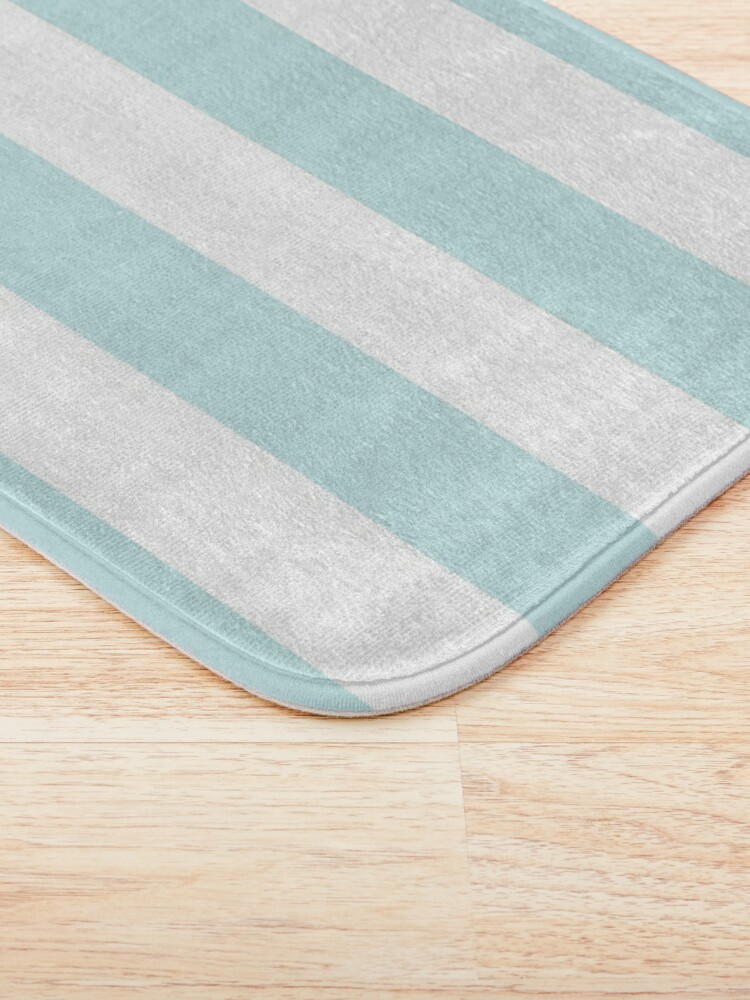 Alternate view of Duck Egg Pale Aqua Blue and White Wide Horizontal Cabana Tent Stripe Bath Mat