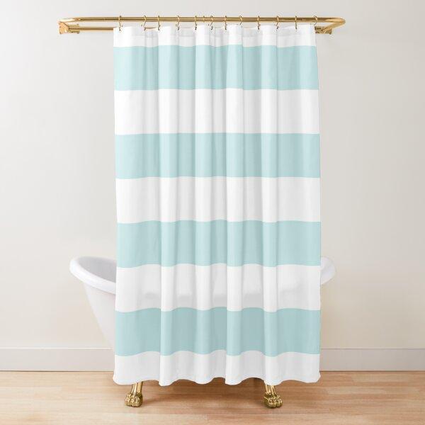 Duck Egg Pale Aqua Blue and White Wide Horizontal Cabana Tent Stripe Shower Curtain