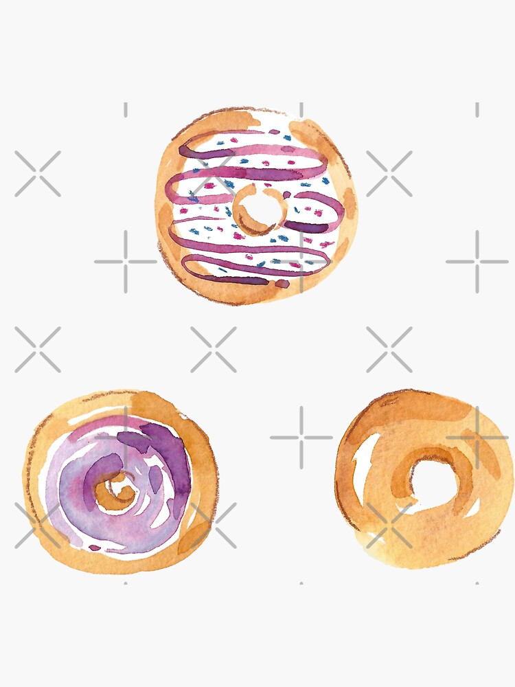 Lilac Watercolor Donuts by annieparsons