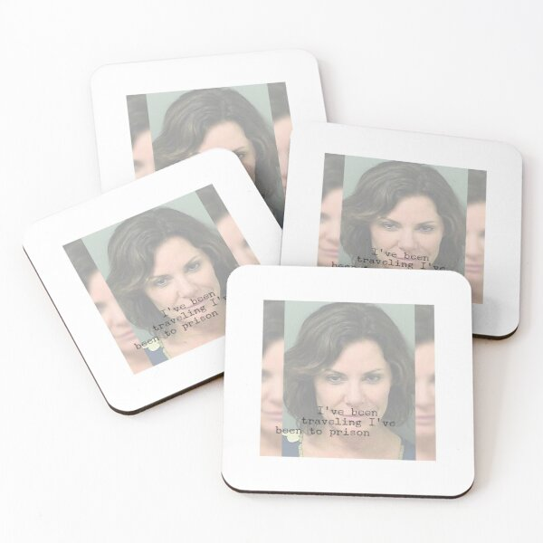 I've been traveling I've been to prison RHONY Luann de Lesseps mugshot and quote Coasters (Set of 4)