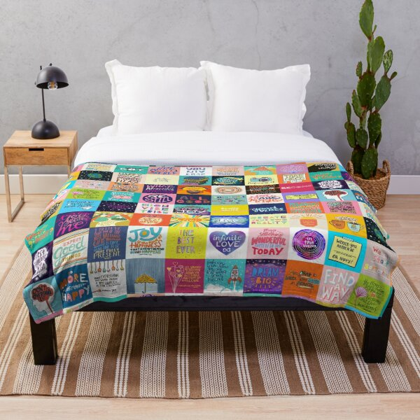 Positivity Patchwork Throw Blanket