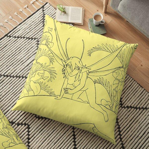 Fairy Encounter Garden Art Scene transparent line-art Floor Pillow