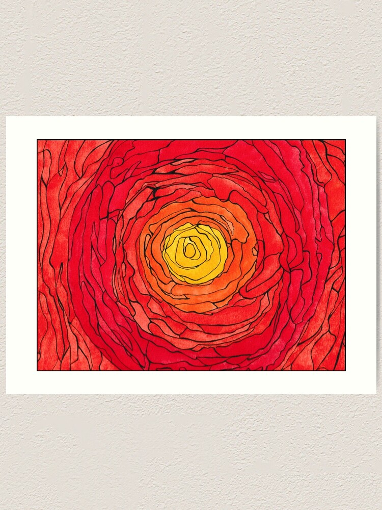 Alternate view of Abstract Sun Watercolor and Pen Art Print