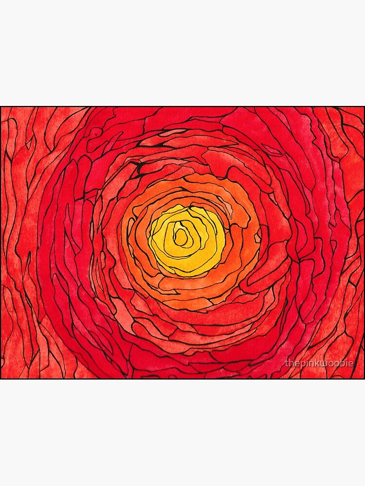 Abstract Sun Watercolor and Pen by thepinkwoobie
