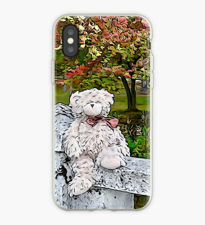Teddy Bear by the Pond in Autumn iPhone Case