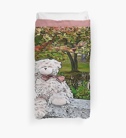 Teddy Bear by the Pond in Autumn Duvet Cover