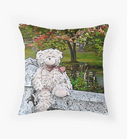 Teddy Bear by the Pond in Autumn Floor Pillow