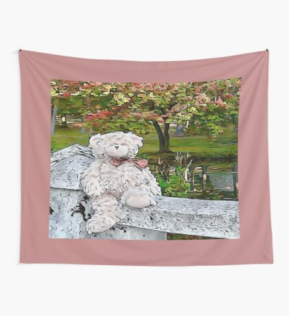 Teddy Bear by the Pond in Autumn Wall Tapestry