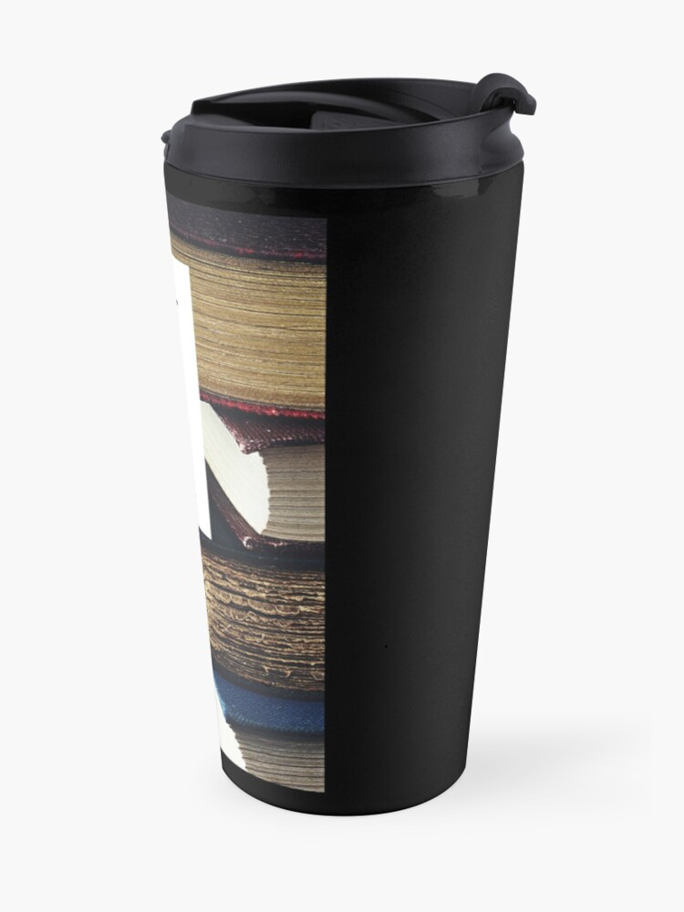 Alternate view of Scroll less.  Read more books.  (bookswithlaurie.com) Travel Mug