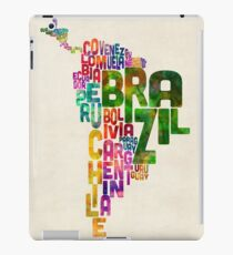 Typography Map of Central and South America iPad Case/Skin