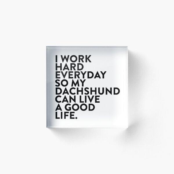 I work hard for my #dachshund Acrylic Block