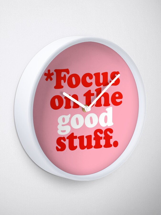 Alternate view of Focus On The Good Stuff {Pink & Red Version} Clock
