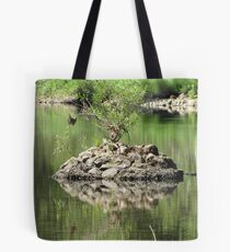 Merced River with a Solitary Tree Tote Bag