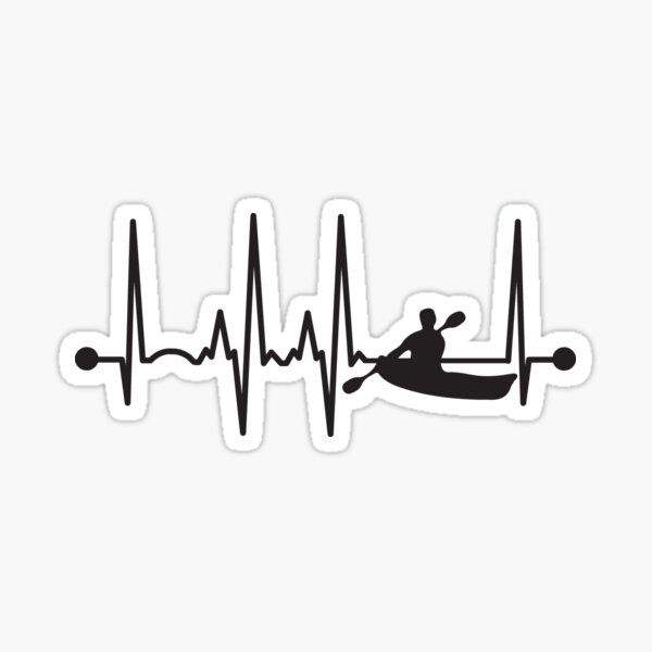 Kayaking Heartbeat Sticker