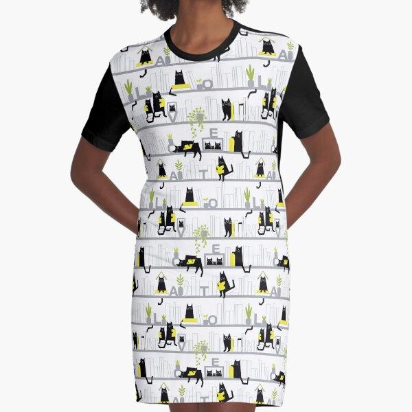 Cat Cafe Graphic T-Shirt Dress
