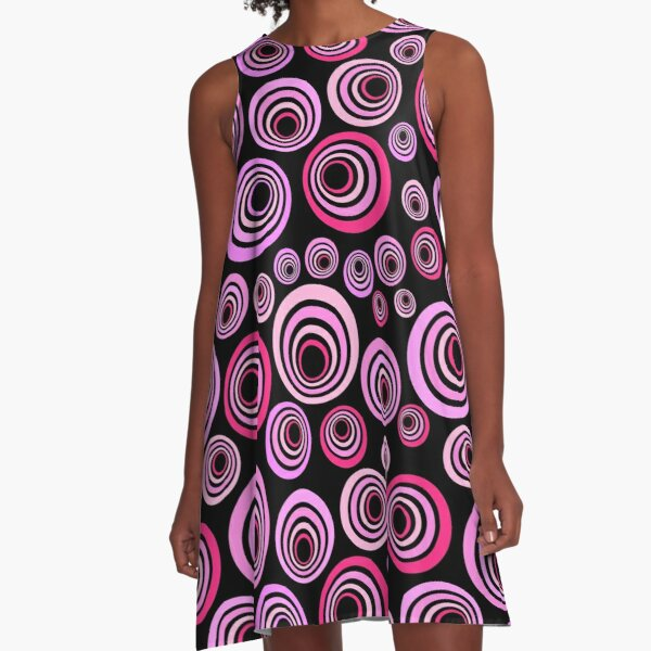 Rosa und lila psychedelisches Retro Muster A-Linien Kleid