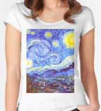 'The Starry Night' HDR Women's Fitted Scoop T-Shirt