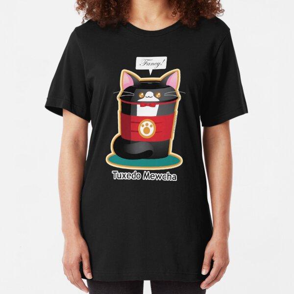 Cute Tuxedo Coffee Cat Slim Fit T-Shirt