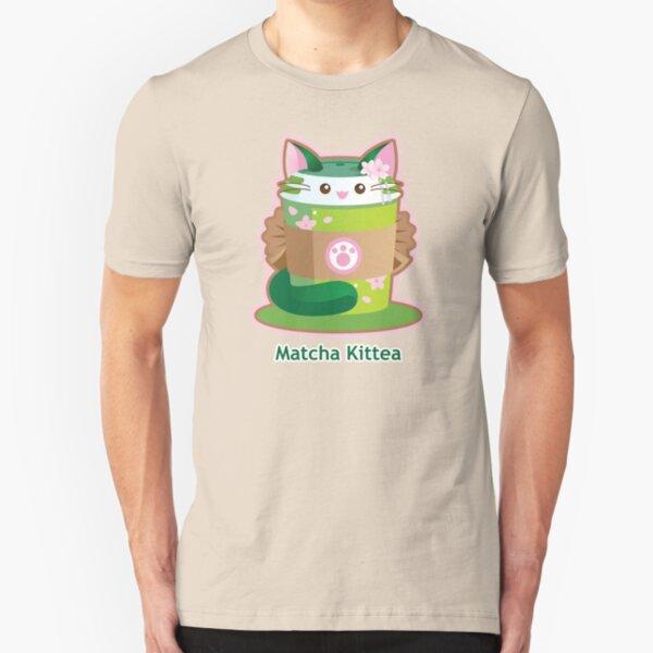 Cute Matcha Cat Tea Slim Fit T-Shirt