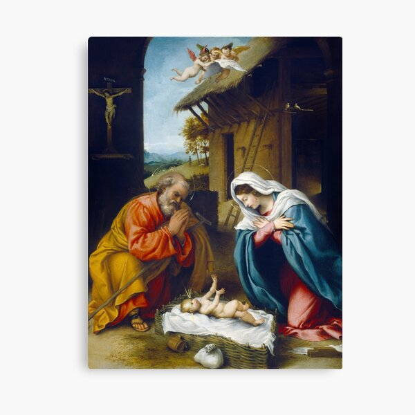 The Nativity by Lorenzo Lotto  Canvas Print