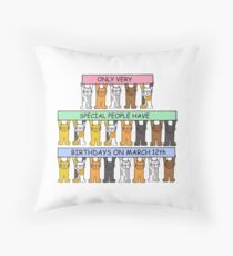 Cats celebrating birthdays on March 12th Throw Pillow
