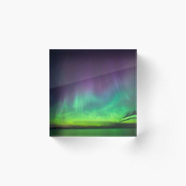 Beautiful northern lights over lake in Finland Acrylic Block