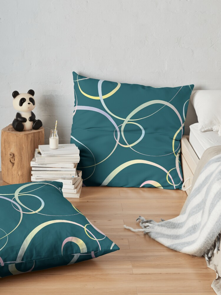 Alternate view of Pastel lines on teal Floor Pillow