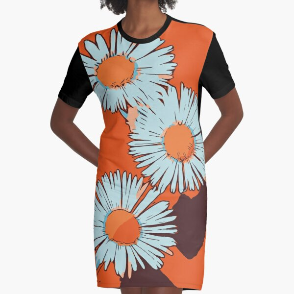 "Gänseblümchen orange florales Blumenmotiv ""WelikeFlowers"" T-Shirt Kleid"